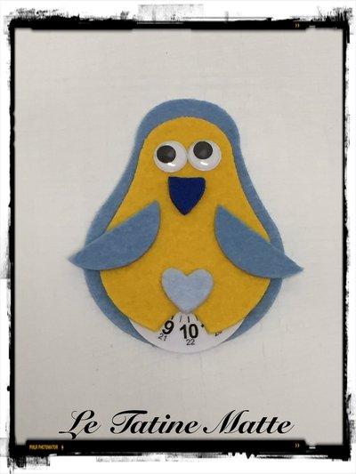 Pinguino Disco Orario azzurro-giallo