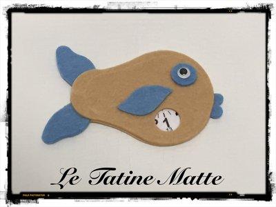 Pesce Disco Orario beige-azzurro