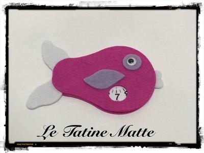 Pesce Disco Orario rosa-bianco