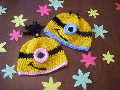 Cappello uncinetto minions in lana baby