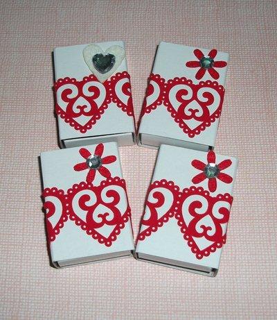Scatoline decorate per regali - Packaging in Rosso - Lotto (4pz)