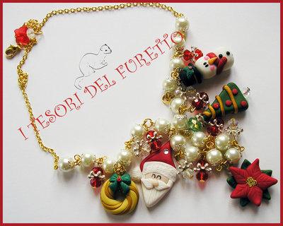 """Collana Natale """"Babbo Natale Ghirlanda, stella di natale, pacchetto , omino di neve"""" fimo cernit kawaii idea regalo per lei"""