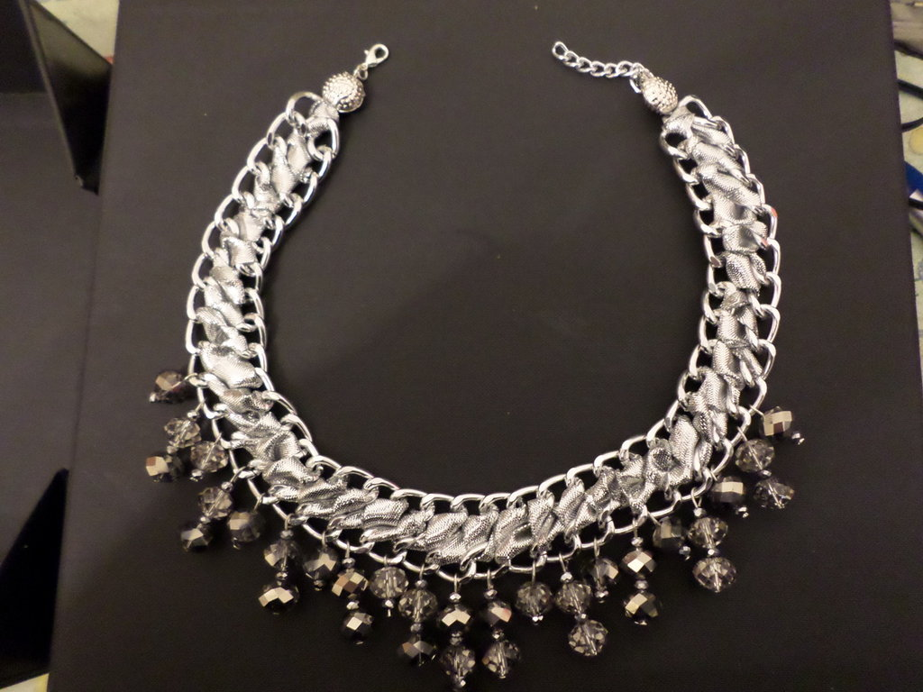 girocollo catena argento e cristalli