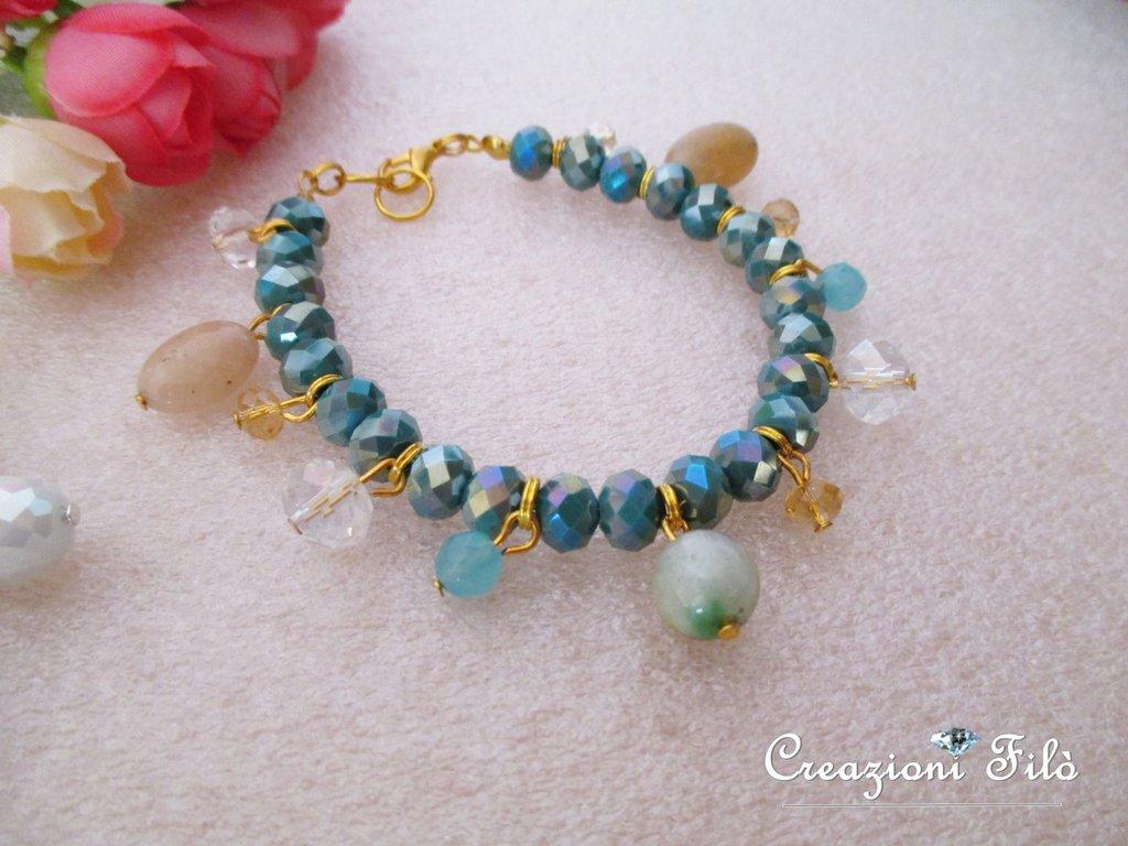 Bracciale smeraldo con pendenti