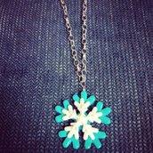 Collana fiocco di neve, ciondolo in fimo