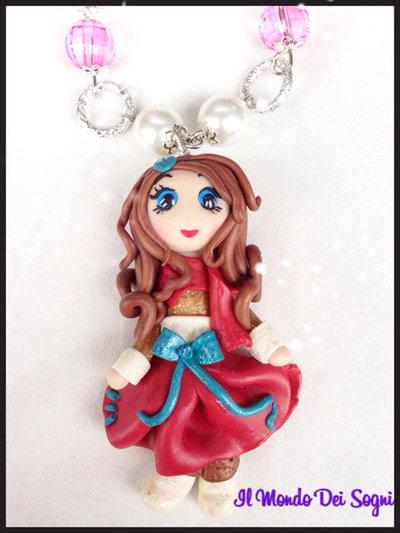 Collana FIMO bambolina DOLL rosso inverno NATALE! idea regalo MODA!handmade