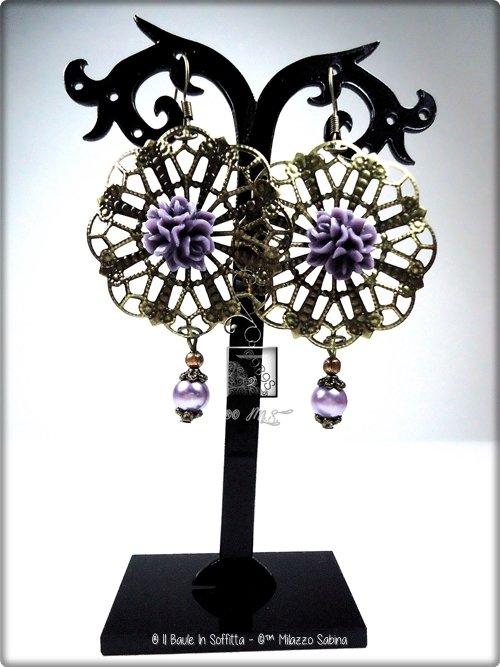 Orecchini in Filigrana con fiore e perla - Viola