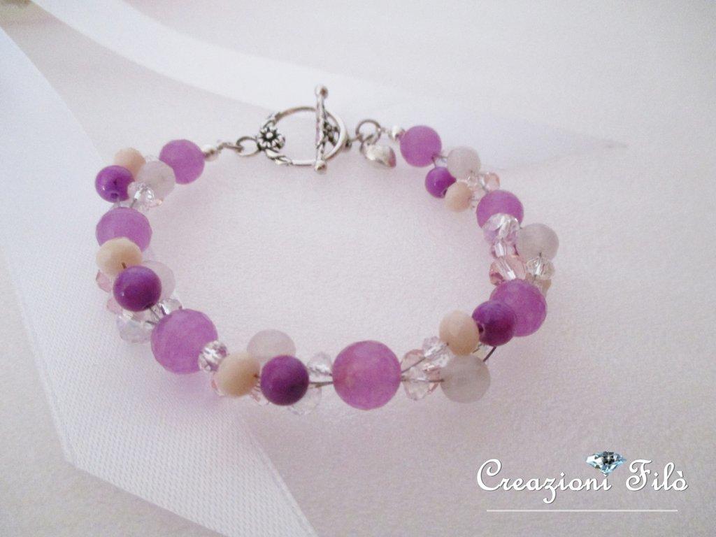 Bracciale viola con pietre e cristalli rosa