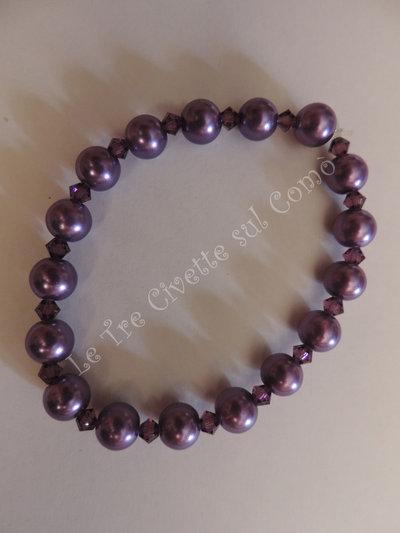 """""""Amethyst Pearl"""" Bracciale con cristalli e simil perle"""