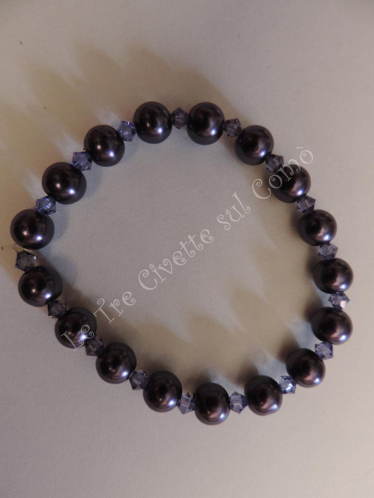 """""""Violet Pearl"""" Bracciale con cristalli e simil perle"""