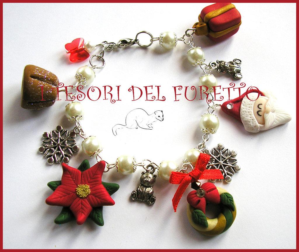 """Bracciale Natale """"Babbo Natale e co. charm fiocchi neve e orsetti"""" idea regalo bijoux naalizi bambina"""