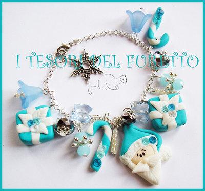 """Bracciale """"Babbo Natale Tiffany"""" Azzurro bianco bijoux natalizi idea regalo"""