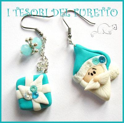 """Orecchini """"Babbo Natale tiffany e pacchetto regalo"""" idea regalo natale bijoux natalizi azzurro bambina per lei"""