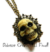 Collana Bronzo Teschio in resina Skull Horror Goth Dark Extreme