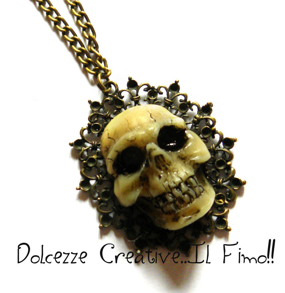 Collana Bronzo Teschio in resina Skull Horror Goth Dark Extreme