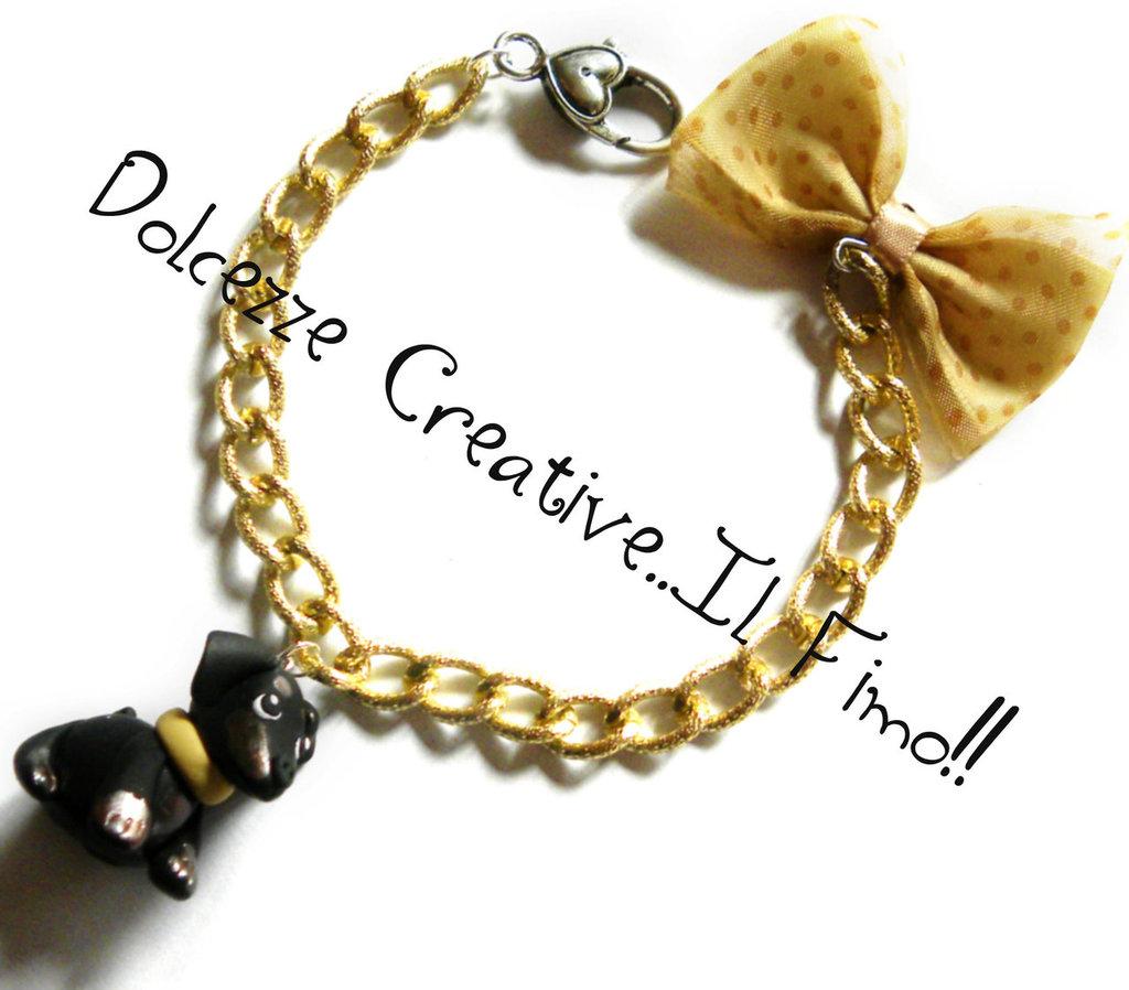 Bracciale I <3 My Dog - Bassotto dachshund color oro fiocco kawaii idea regalo