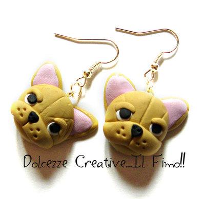 Orecchini BullDog Francese cani miniatura kawaii cute idea regalo