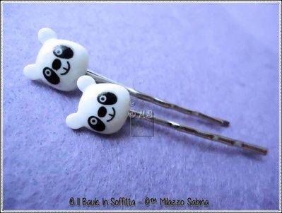 Fermagli per capelli con Panda