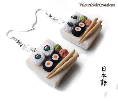 Orecchini piattino con sushi in fimo