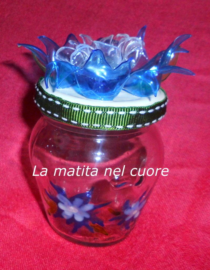 Vasetto vetro dipinto fiore plastica pet  bordo verde