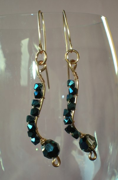 metallic blue swarovski earrings