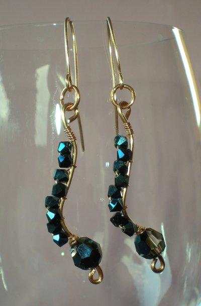 metallic blue swarovski earrings