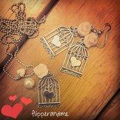 OFFERTA NATALE collana ed orecchini gabbietta cuore