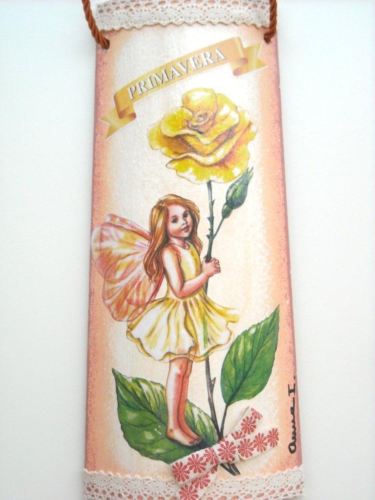 """Tegole in legno """" Folletti e fatine in quattro stagioni: PRIMAVERA"""". Idea regalo artigianale."""