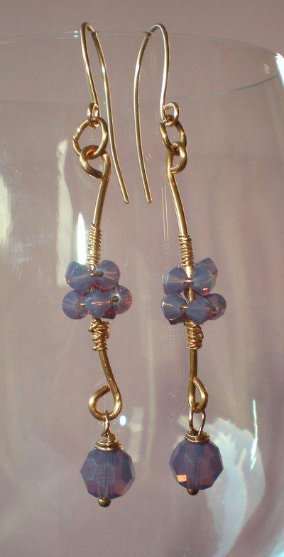 cyclamen swarovski earring