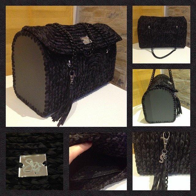 Bauletto in crochet lavorato su rete - Versione Nera con motivi in grigio scuro
