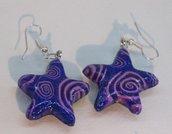 Orecchini stella blu e rosa