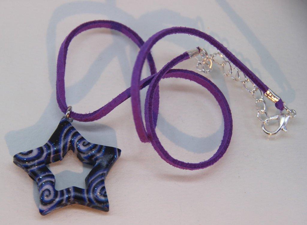 Ciondolo stella spirali blu