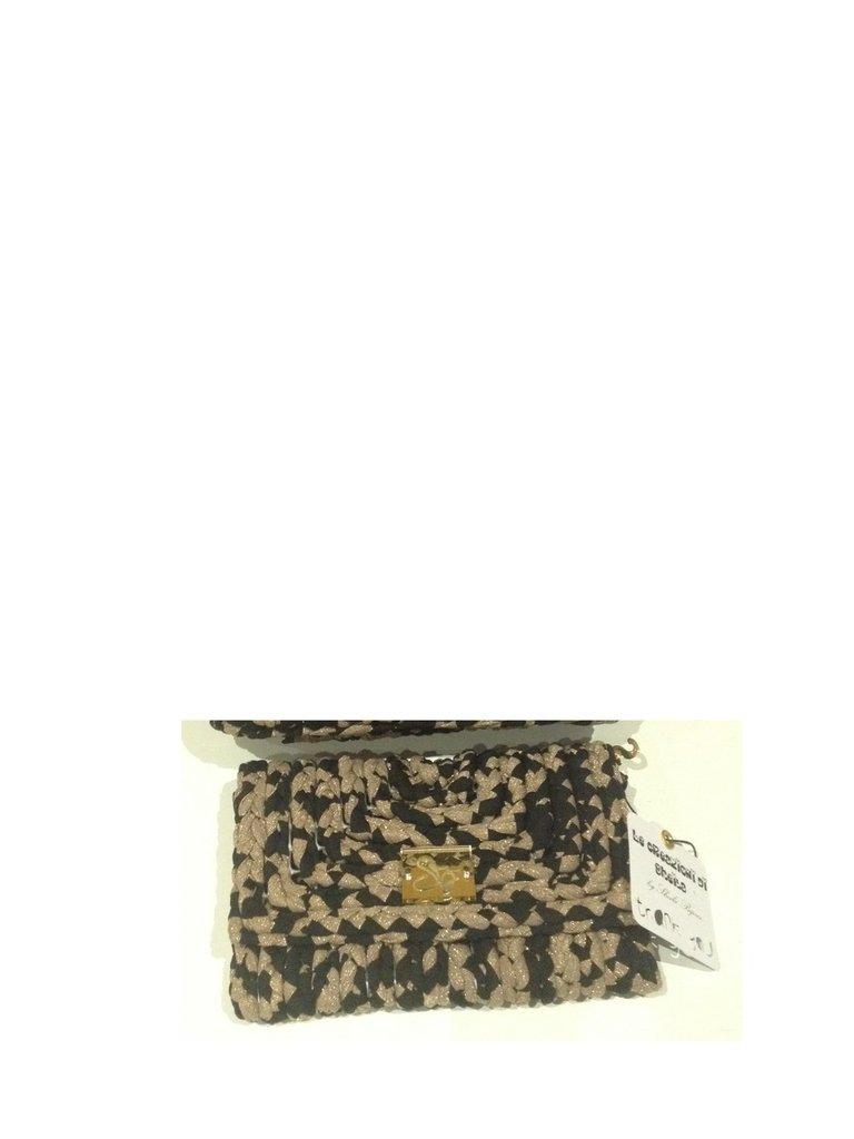 Portafoglio Black & Gold in fettuccia nera su rete