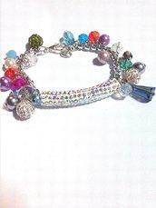 bracciale arcobaleno con cristalli colorati FATTO A MANO!