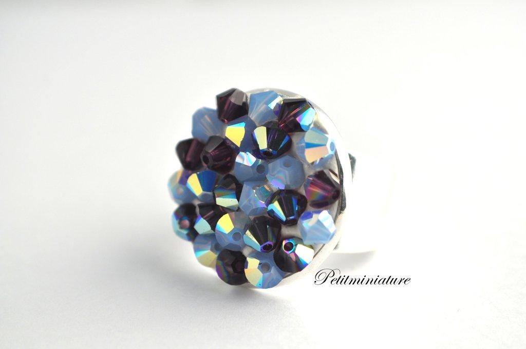 Anello Tempesta di Swarovski -bicono crystal Tecnica Pointiage- Bronzo Antico-Metallo Rodiato-Swarovski Cristal ab-Gioielli