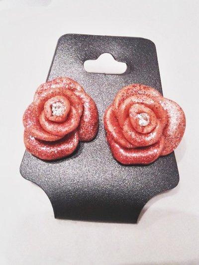 orecchini a perno, rosa rossa