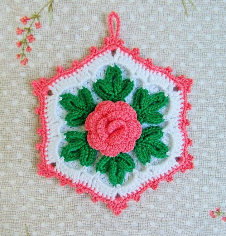 Presina all 39 uncinetto a forma esagonale con fiore per la for Oggetti per la casa particolari