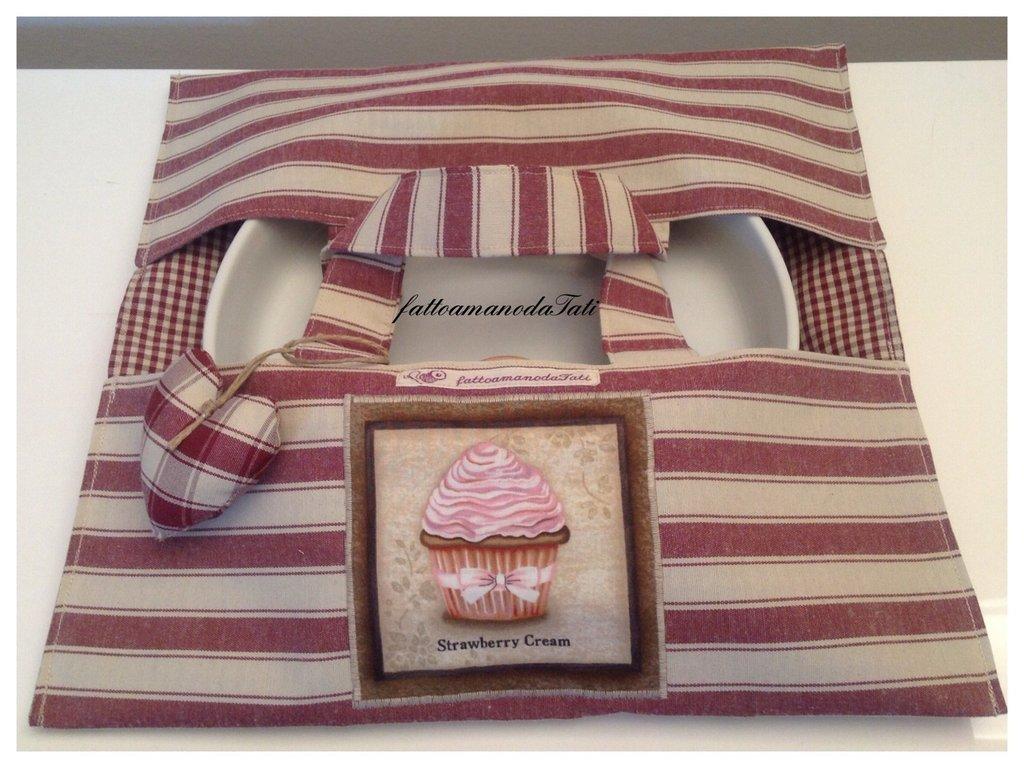 Porta torte in cotone a righe bordò con appliquè cupcake