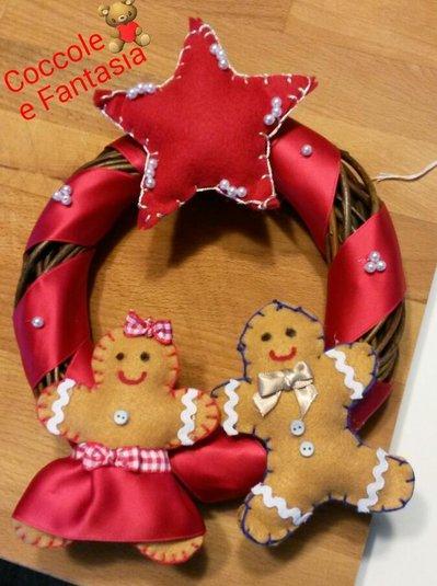 Ghirlanda fuori porta natalizia in legno con decorazione - Ghirlanda porta ...