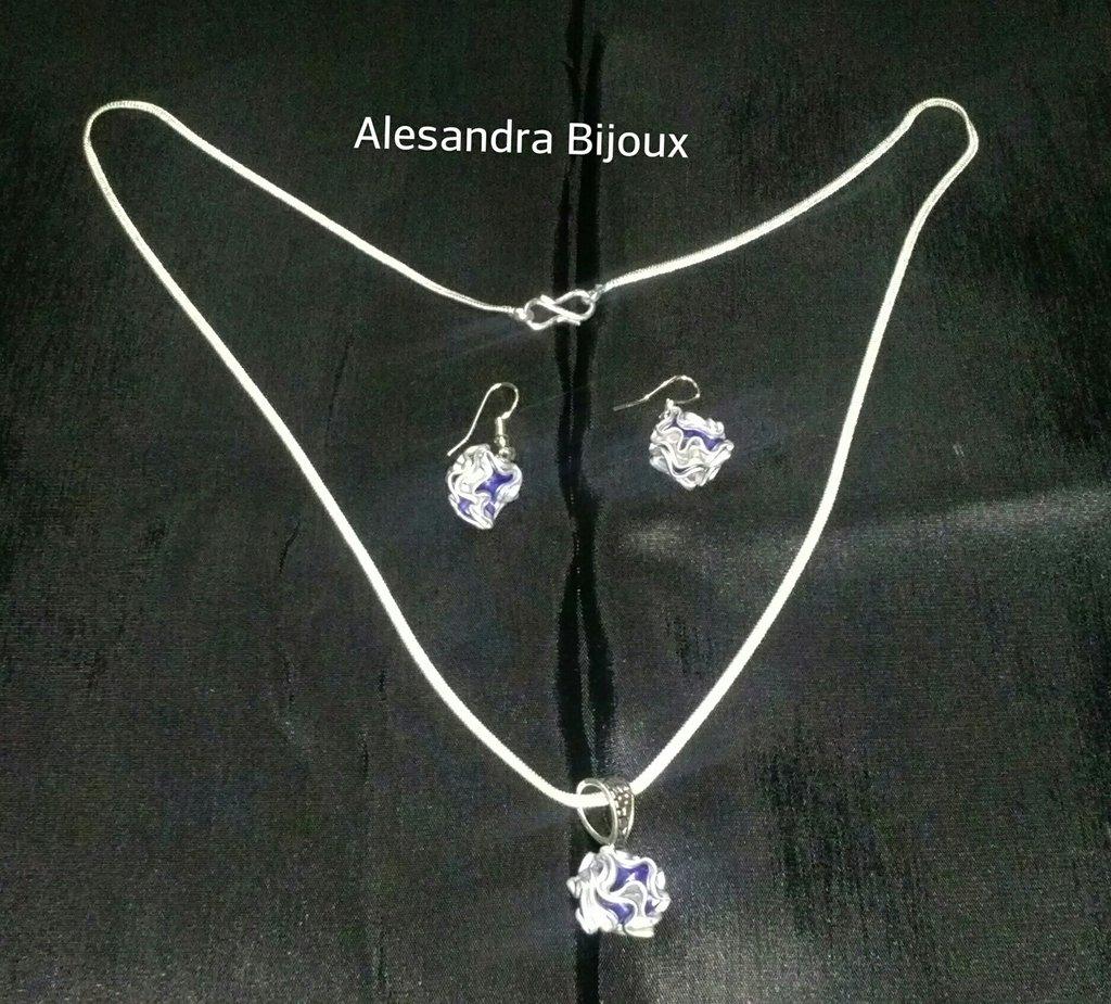 Parure rosellina blu collana e orecchini