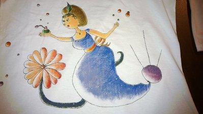 """t-shirt manica corta cotone """"TIFFANY"""" dipinta a mano"""