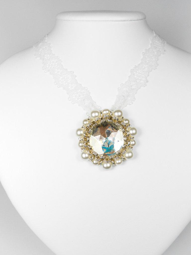 Collana cabochon con perle di Boemia Daniela 01