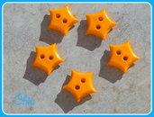 Set 10 bottoni stella arancione 15mm