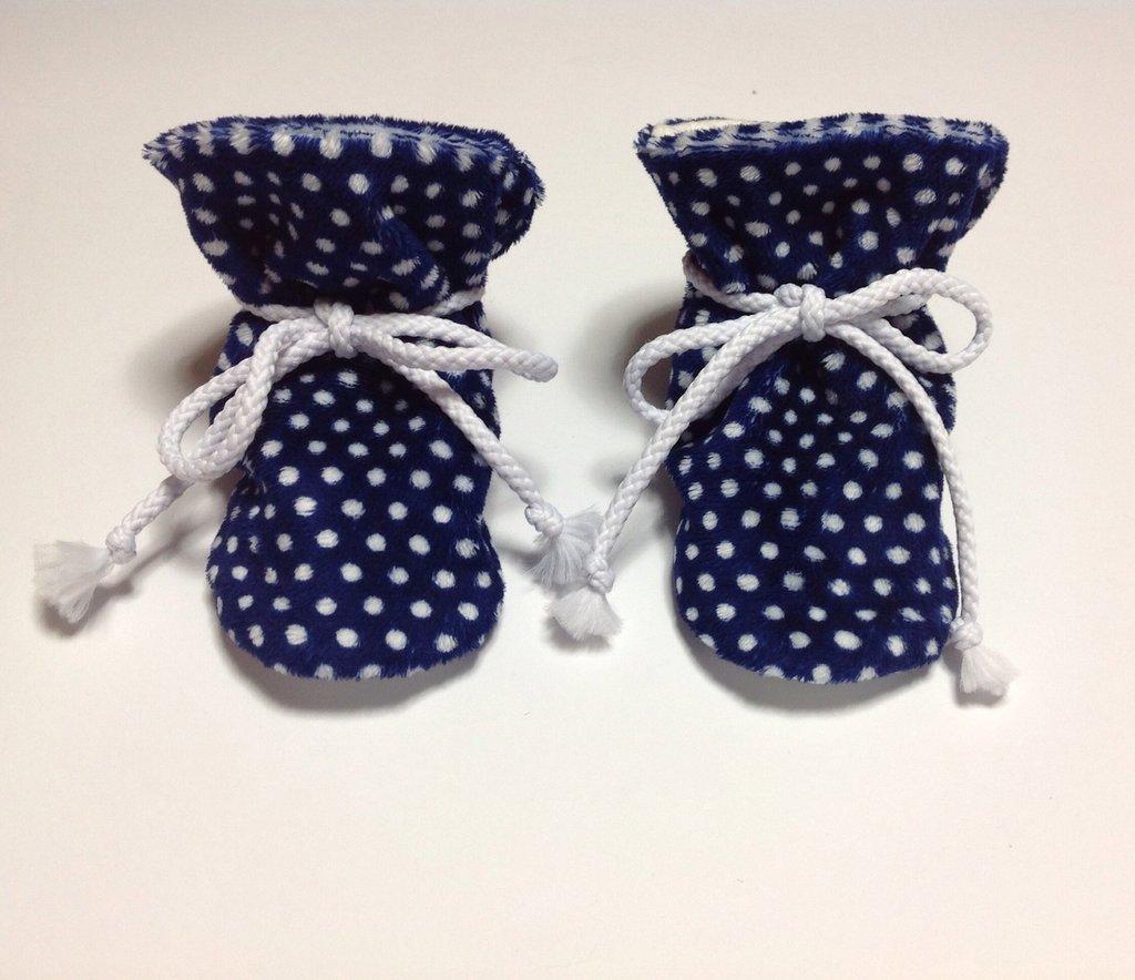 Babbucce scarpine pile blu e pois bianchi - Bambini 6-12 mesi