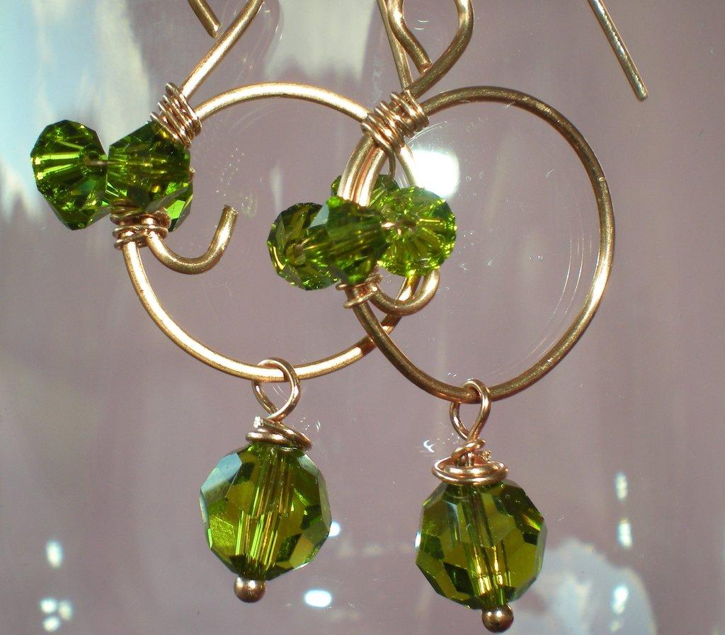 orecchini swarovski verde oliva