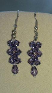 Orecchini pendenti con goccia Swarovski ab color viola