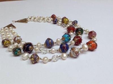 Collana girocollo multifilo perle e murrine vintage