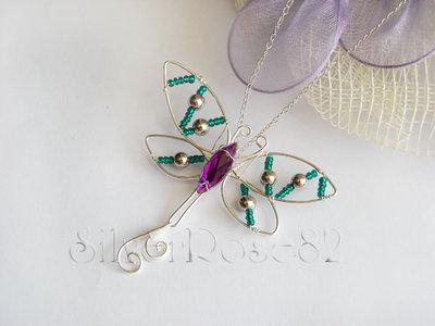 Collana Libellula verde-viola