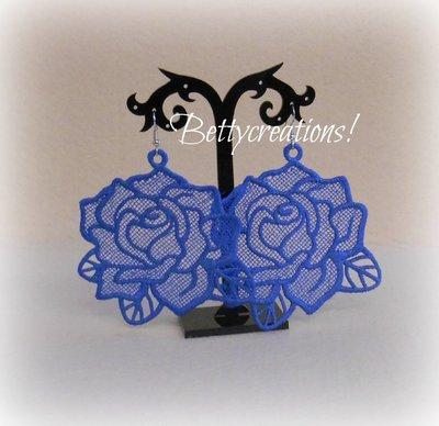 Orecchini Pizzo Rose Blu