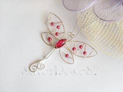 Collana Libellula rosa